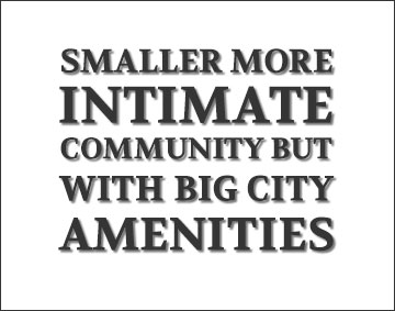 Smaller more intimate community but with big city amenities